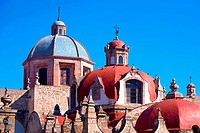 Domes of a church, Iglesia Del Carmen, Morelia, Michoacan State, Mexico