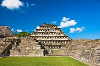 Pyramid on a landscape, Pyramid Of The Niches, El Tajin, Veracruz, Mexico