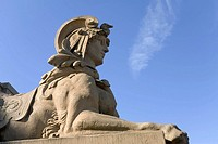 Sphinx at Mannheim water tower, Baden-Wuerttemberg, Germany