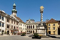 City square Foe ter with fire tower, historic old town of Sopron, Hungaria