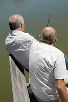 Rear view of two senior men fishing