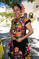 Portrait of a mid adult woman in traditional clothing, Oaxaca, Oaxaca State, Mexico (thumbnail)