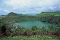 Crater lake at Manengouba, Western Cameroun, Cameroon, Africa