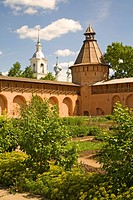 Saviour Monastery of St. Euthymius, garden and stone wall, Suzdal, Russia