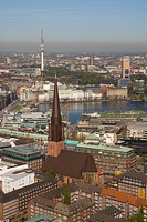 Arial view over the city center of Hamburg with lake Binnenalster, St. Jacobi church and television tower, Hamburg, Germany