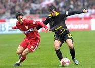 Roberto HILBERT VfB Stuttgart (left) versus Jeffrey LEIWAKABESSY Alemannia Aachen