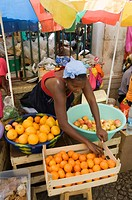 The African market in the old city of Praia on the Plateau, Praia, Santiago, Cape Verde Islands, Africa