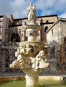 Font infront of the Catedral of Santa Maria , Burgos , Castilla y Leon , french Way of St. James , Spain , Europe