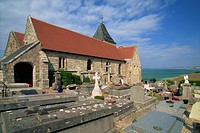 Sailors' cemetery and 11th century church, Varengeville sur Mer, Haute Normandie, France, Europe