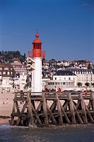 Lighthouse and jetty, Trouville, Basse Normandie Normandy, France, Europe