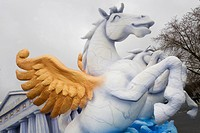 Winged horse jumps, figure made of paper maché , monday before lent parade, Duesseldorf, NRW, Germany