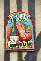 Cider bar sign, Beuvron en Auge, Auge, Normandy, France, Europe