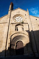 Romanesque façade of the Old Cathedral (aka St Mary´s church), Plasencia. Caceres province, Extremadura, Spain
