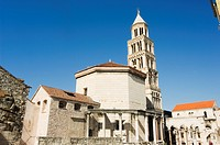 Diocletians Palace Roman ruins, cathedral tower, UNESCO World Heritage Site, Old Town, Split, Dalmatia Coast, Croatia, Europe