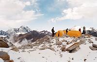 Base camp on Huayna Potosi, Cordillera Real, Bolivia, South America