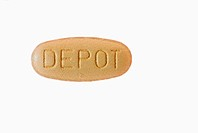 Beige pill with writing depot, cut_out, makro