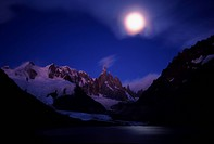 Cerro Torre at full moon, Patagonia, Argentina, Southamerica