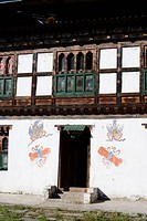 Phallus symbols on house to ward off evil spirits, Paro, Bhutan, Asia