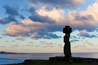 Moai statue Ahu Ko Te Riku, the only topknotted and eyeballed Moai on the Island, Rapa Nui Easter Island, UNESCO World Heritage Site, Chile, South Ame...