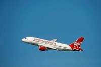 Virgin America airlines Airbus 319 flying during San Francisco Fleet Week 2008