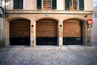 Parking doors, Palma de Mallorca, Mallorca, Balearic Islands, Spain