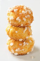 Three chouquettes with pearl sugar Choux pastries, France
