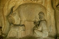 Relief from one of the cave temples at Mahabalipuram, UNESCO World Heritage Site, near Madras, India, Asia