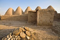 Traditional mud brick 'beehive' houses and cow dung patties used for fuel in winter, Harran, Anatolia, Turkey