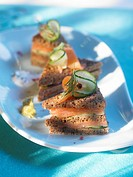 Salmon and cucumber sandwiches