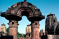 Round stone torana gate, Mukteswara temple, Bhubaneswar, Orissa state, India, Asia