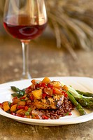 Grilled Chicken Topped with Peach Salsa, Asparagus on the Side