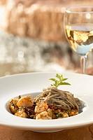 Shrimp Scampi in a Bowl with Soba Noodles