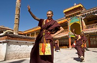 Group of monks dancing in the monastery courtyard rehearsing for Hemis festival, Hemis, Ladakh, India, Asia