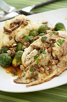 Pompano Fish with Mashed Potatoes and Brussels Sprouts