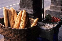 Bread basket in the streets of Potes, Picos de Europa, Asturias, Spain