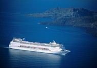 Cruise ship, Santorini, Cyclades Islands, Greece, Europe