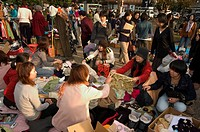 Flea market, City Hall, Kyoto city, Honshu, Japan, Asia