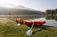 2 kayaks at the bathing lake and camping area Zenz near the mountain Hochschwab, Pichl-Großdorf, Styria, Austria