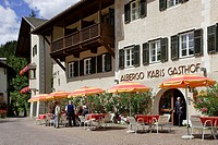 Arlbergo and cafe, Sankt Peter or San Pietro, Villnößtal, South Tyrol, Italy