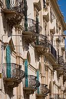 Balconies, Noto, Sicily, Italy, Europe