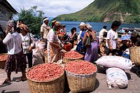 Batak women with onion crop at market in Haranggaol, north shore, Lake Toba, Sumatra, Indonesia, Southeast Asia, Asia