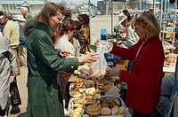 Cake stall, outdoor market, Yuzhno, Sakhalin, Russian Far East, Russia, Europe