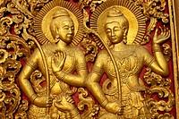 Gilded wood doors of the Wat Xieng Thong at Luang Prabang in Laos, Indochina, Southeast Asia, Asia