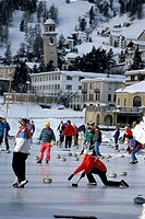 Curlers on the ice, St. Moritz, Switzerland, Europe