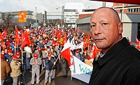 07.03.2006 warning strike of the union IG Metall at Porsche, Stuttgart, Baden-Wuerttemberg, Germany