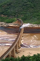 Outeniqua Choo Tjoe train crossing the Kaimans River Bridge, South Africa, Africa