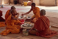 A group of Buddhist monks in saffron robes sitting on the floor, eating, at Wat Chan in Vientiane, Laos, Indochina, Southeast Asia, Asia