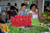 Radishes for sale, market area, Merida, Yucatan, Mexico, North America