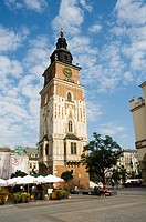 Town Hall Tower Ratusz, Main Market Square Rynek Glowny, Old Town District Stare Miasto, Krakow Cracow, UNESCO World Heritage Site, Poland, Europe