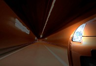 Close_up image of a sport car in a tunnel